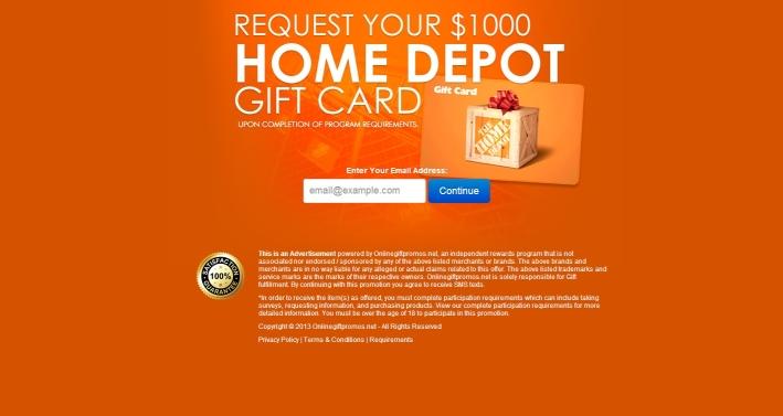 free Home Depot gift card 100 Home Depot Gift Card